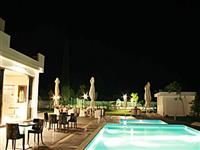 The communal pool at night